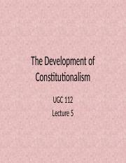 Lecture 05 - The Development of Constitutionalism (1)