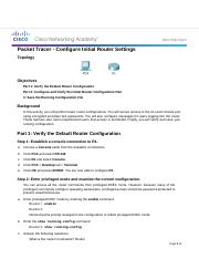 6.4.1.3 Packet Tracer - Configure Initial Router Settings.docx