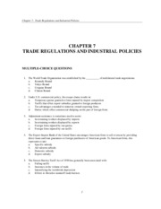 Chaper 7 Trade Regulations and Industrial Policies test