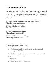 Notes for week 3, the problem of evil, Pascal's wager.docx