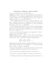 Homework 7 Solution Spring 2014 on Number Theory
