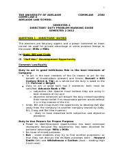 Sample Marking Guide for Directors' Duty Problem(COMMLAW2500 Commercial Law II)(Semester 2 2012).doc
