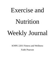 Exercise and Nutrition Weekly Journal.docx