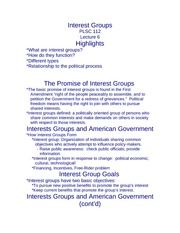 Lecture 9 Interest Groups