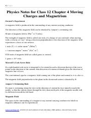 Physics Formual and Notes for Class 12 Chapter 4 Moving Charges and Magnetrism