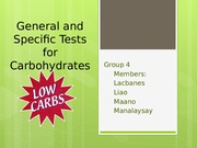 General and Specific Tests for Carbohydrates