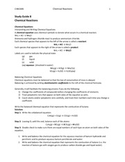 ch.8 ChemicalReactions-Study Guide