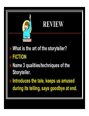 StoryTellers-Narration Lecture Presentation and Review