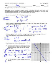 Quiz Solution on Creating and Using Linear Equations