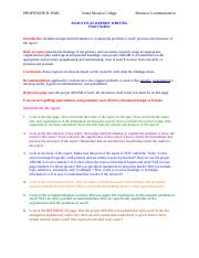 Analytical Report Writing Final Checklist Fall 2016