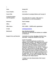 Syllabus ACG3113 Intermediate II Spring 2014