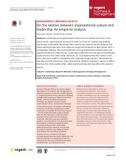 On the relation between organizational culture and leadership An empirical analysis