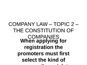 COMPANY LAW – TOPIC 2 – THE CONSTITUTION