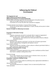 MGT 701: Influencing the Political Environment Notes