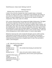 World Resources- Study Guide- Refining Crude Oil