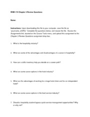 RHM 175 Chapter 3 Review Questions