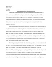 Philosophy Midterm Long Essay Question
