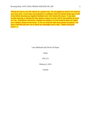 PSY 375 Late Adulthood and End of Life Paper
