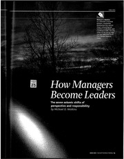How Managers become leaders Seven Seismic shifts