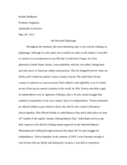 Essay-The Importance of a Pilgramage