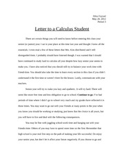 Letter to a Calculus Student