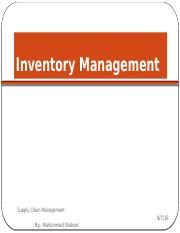 Lecture 7 inventory mngt  Warehouse management 2016 - Copy