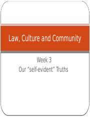 Law, Culture and Community Week 3