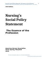 Nursing's Social Policy Statement_2010 (no appendices)