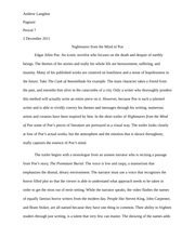 Nightmares from the Mind of Poe Essay