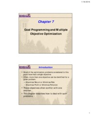 Lecture 5a - Goal programming and Multiple objective