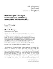 Article 11_Methodological Challenges Confronted when Conducting Management Research in China