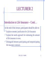 Lecture 2 CIN 2120 Introduction to Life Insurance – Conti…C.pptx