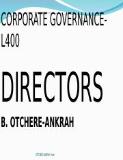 Corporate Governance - lecture 3. Directors-1