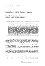 Faculty at Work - Focus on Teaching