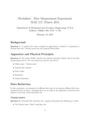flow measurement worksheet worksheet flow measurement experiment mae 157 winter 2015. Black Bedroom Furniture Sets. Home Design Ideas