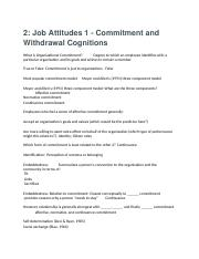 2- Job Attitudes 1 - Commitment and Withdrawal Cognitions