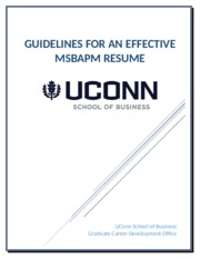 Guidelines for an Effective MSBAPM Resume