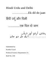 Hindi Urdu and Delhi.docx