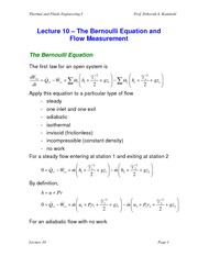 Lecture 10 The Bernoulli Equation