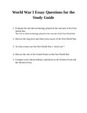 ap euro wwi essay questions World war i possible essay questions & rubric note: i will pick one of the following questions for you to answer on your testyou will answer the.