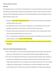 Proposal Essay Topic Ideas Exploratory Essay Assignment  Proposalexploratory Essay Essays About Health also Essay On Science Exploratory Essay Assignment  Proposalexploratory Essay Overview  Essay About Learning English