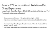 Lesson 17--Unconcentional Fed Policies