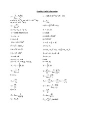 PHYS 114 Final Exam Equations Reference Study Guide