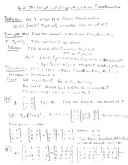 6.2 Kernel and Range of a Linear Transformations