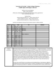 2014 Spring IS2080 Lecture Syllabus Schedule S13