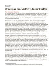 Case 2 Activity Based Costing - Greetings, Inc.