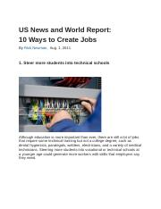 US News and World Report, How to Create Jobs