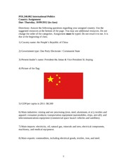 POLS 240 - Country Assignment- China