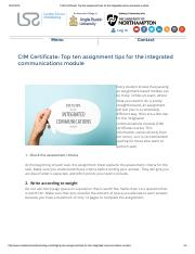 CIM Certificate_ Top ten assignment tips for the integrated communications module