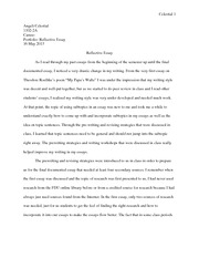 cause and effect hills like white elephants essay theresa  3 pages reflective essay spring semester caruso 2013